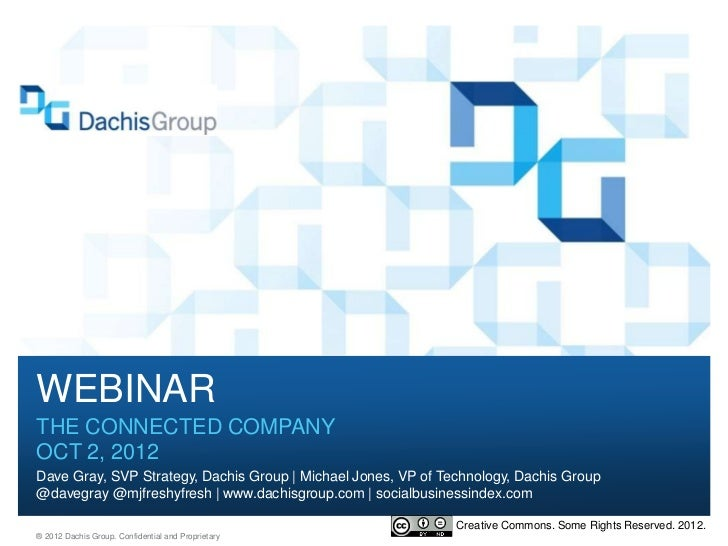 WEBINARTHE CONNECTED COMPANYOCT 2, 2012Dave Gray, SVP Strategy, Dachis Group | Michael Jones, VP of Technology, Dachis Gro...