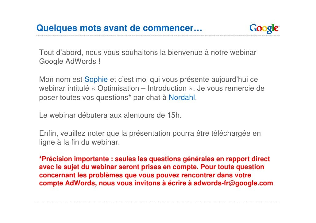 Google Optimisation Basique