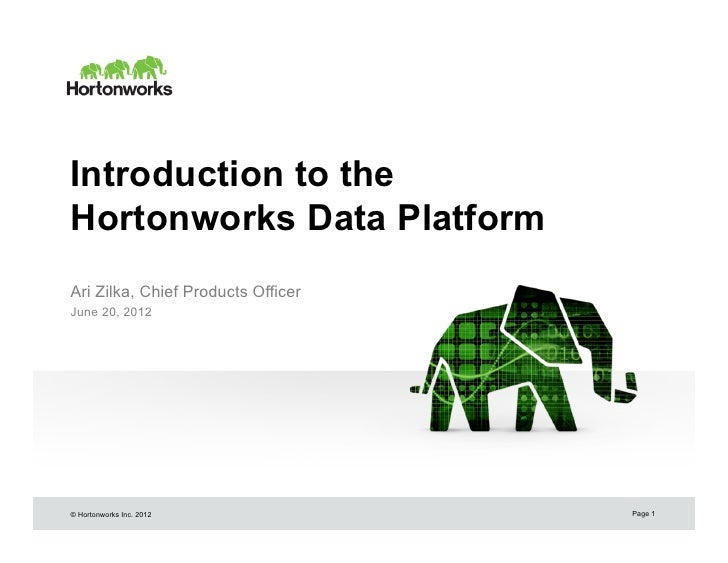 Introduction to theHortonworks Data PlatformAri Zilka, Chief Products OfficerJune 20, 2012© Hortonworks Inc. 2012         ...
