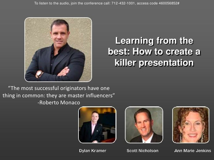 To listen to the audio, join the conference call: 712-432-1001, access code 460056852#<br />Learning from the best: How to...