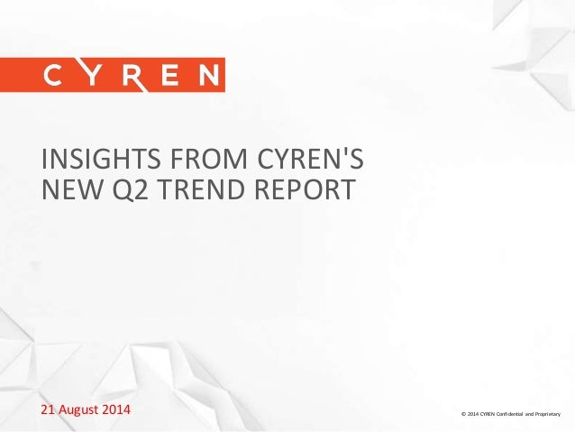 21 August 2014 © 2014 CYREN Confidential and Proprietary INSIGHTS FROM CYREN'S NEW Q2 TREND REPORT