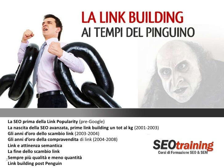 La SEO prima della Link Popularity (pre-Google) La nascita della SEO avanzata, prime link building un tot al kg (2001-2003...