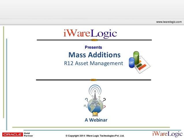 Webinar: Mass Additions – R12 Asset Management
