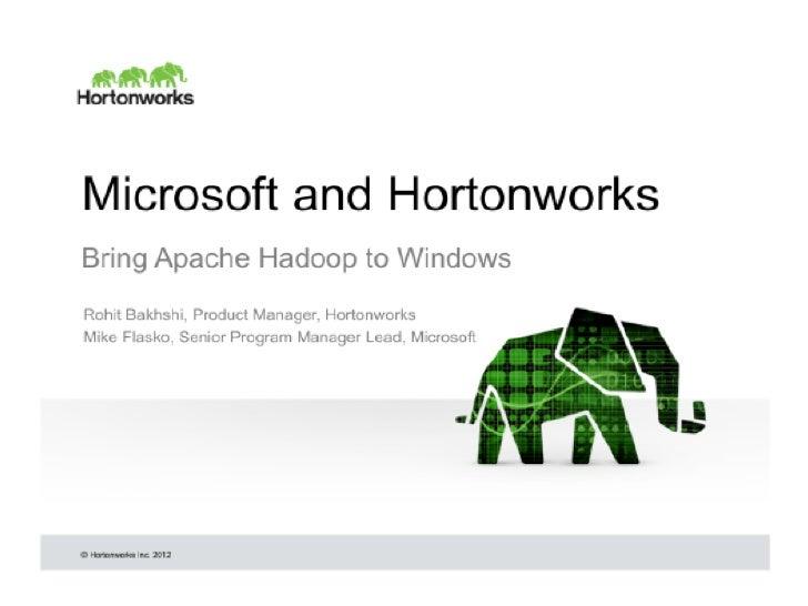 Hortonworks and Microsoft Bring Apache Hadoop to Windows