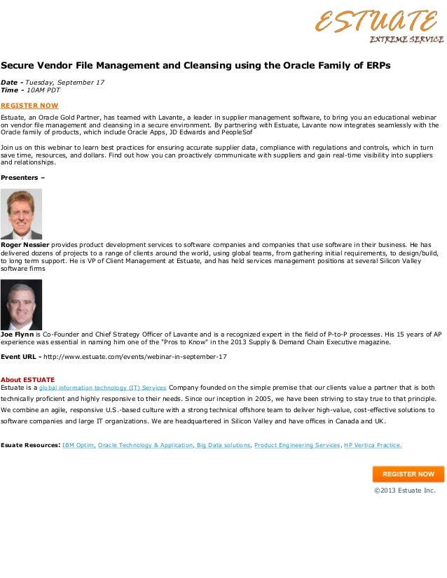 Webinar - Secure Vendor File Management and Cleansing using the Oracle Family of ERPs