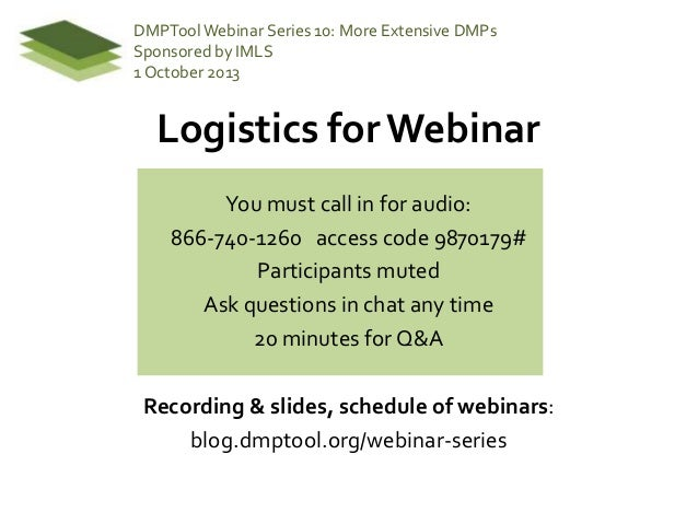DMPTool Webinar 10: More Extensive DMPs