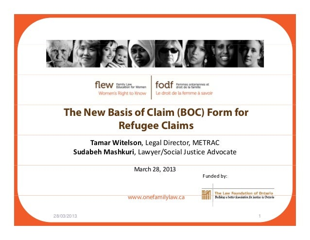 The New Basis of Claim Form (BOC) for Refugee Claims