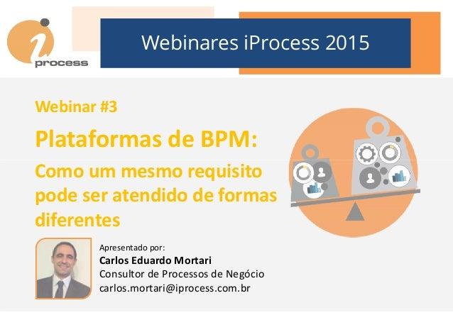 Webinares iProcess 2015 Webinar #3 Plataformas de BPM: Como um mesmo requisitoComo um mesmo requisito pode ser atendido de...
