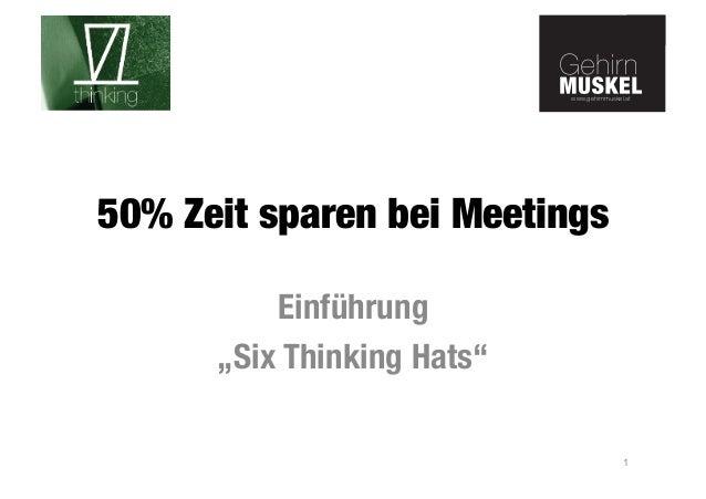 """www.gehirnmuskel.at  www.gehirnmuskel.at  50% Zeit sparen bei Meetings  Einführung  """"Six Thinking Hats""""  1"""