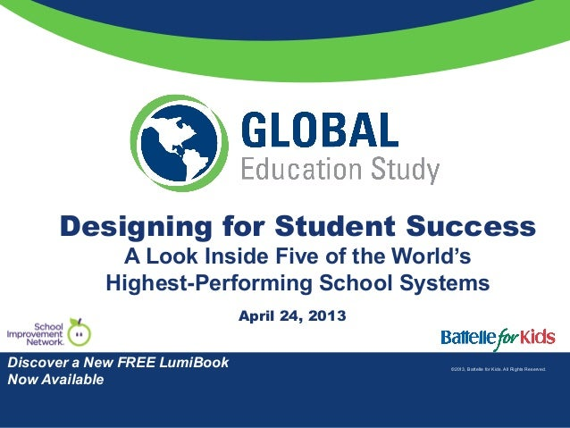 ©2013, Battelle for Kids. All Rights Reserved.Designing for Student SuccessA Look Inside Five of the World'sHighest-Perfor...