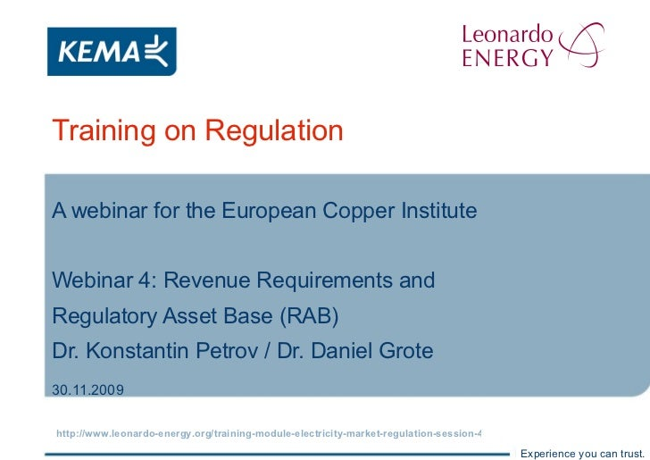 Training on Regulation A webinar for the European Copper Institute Webinar 4: Revenue Requirements and  Regulatory Asset B...