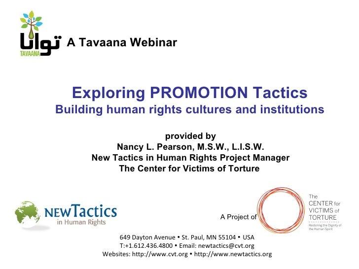 Tavaana/New Tactics Webinar 4: Building Human Rights Cultures and Institutions (English)