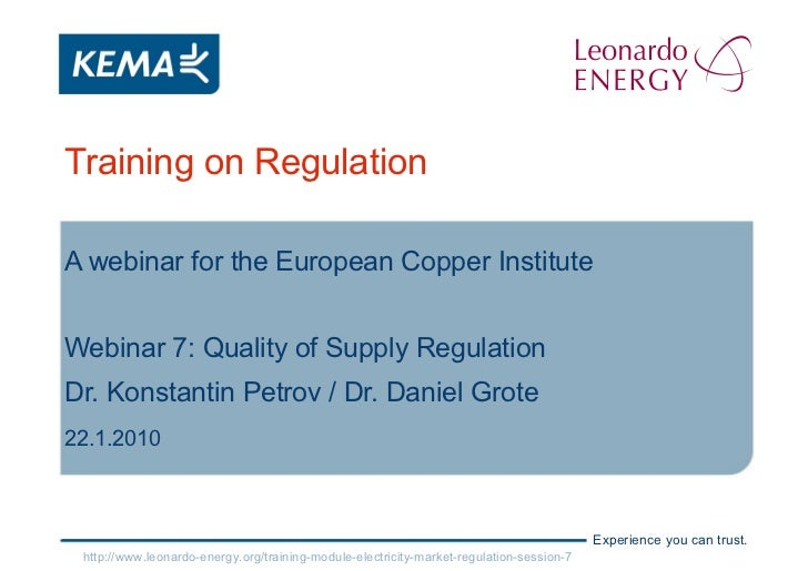 Electricity Markets Regulation - Lesson 7 -   Quality Of Supply Regulation