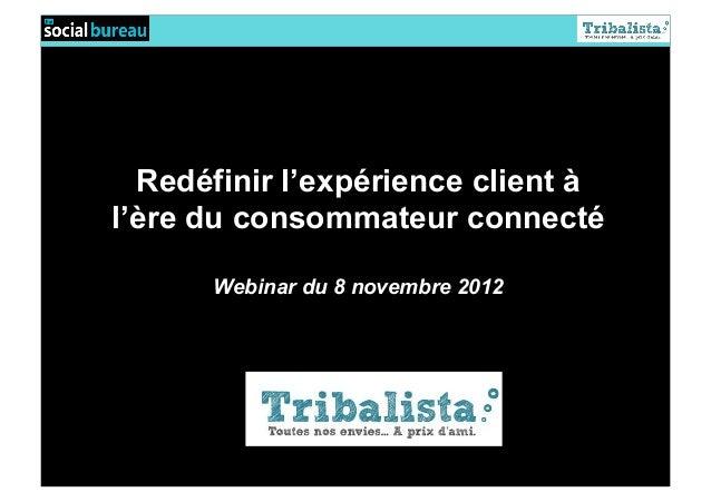 Redéfinir l'expérience client àl'ère du consommateur connecté      Webinar du 8 novembre 2012