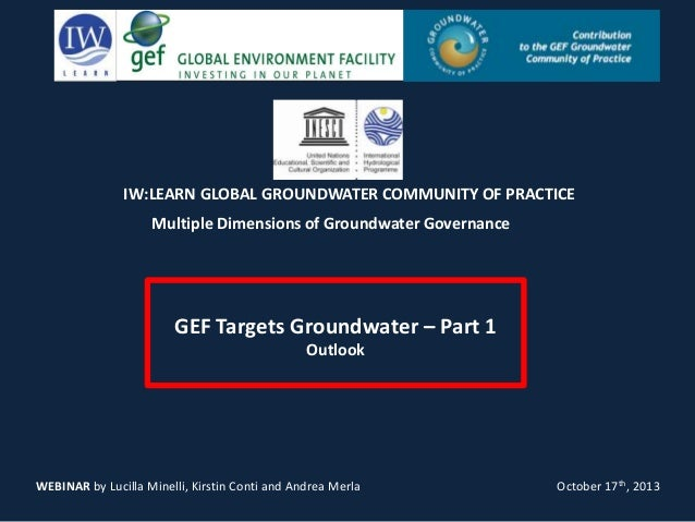 IW:LEARN GLOBAL GROUNDWATER COMMUNITY OF PRACTICE Multiple Dimensions of Groundwater Governance  GEF Targets Groundwater –...