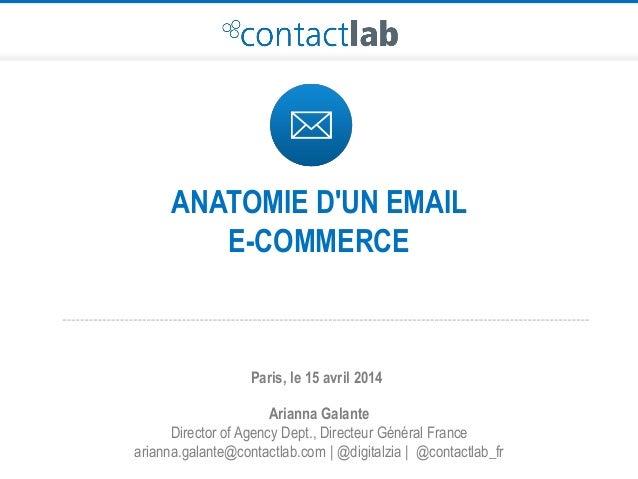ANATOMIE D'UN EMAIL E-COMMERCE Arianna Galante Director of Agency Dept., Directeur Général France arianna.galante@contactl...