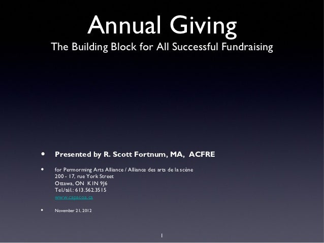 Annual Giving    The Building Block for All Successful Fundraising•   Presented by R. Scott Fortnum, MA, ACFRE•   for Perm...