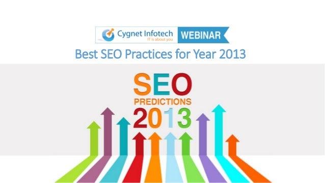 Webinar Best SEO Practices for 2013