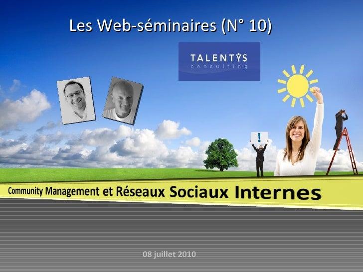 Les Web-séminaires (N° 10)