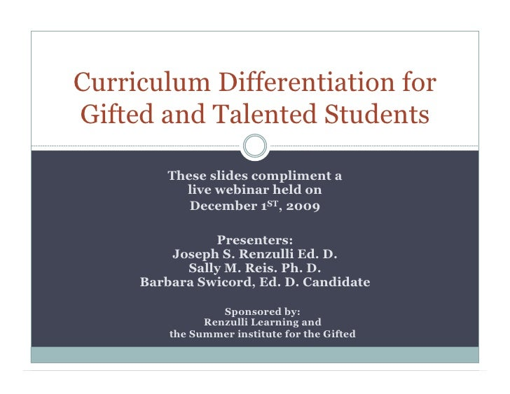Curriculum Differentiation For Gifted And Talented Students Webinar