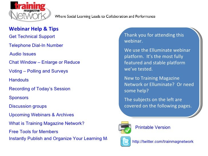 Webinar help, tips and free tools for Training Magazine Network members