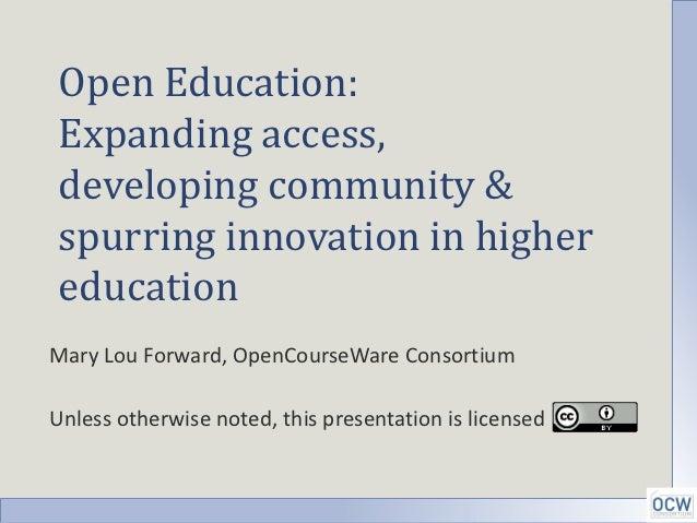 Overview open education, NCSE Webinar Nov 8
