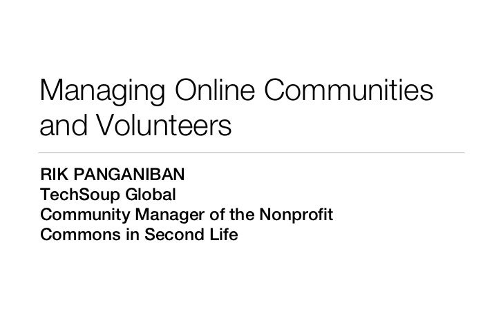 Webinar on Managing Online Communities on Tuesday June 21