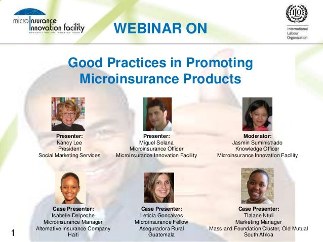 """Webinar on """"Good Practices in Promoting Microinsurance Products"""""""