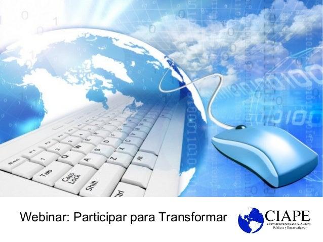 Webinar: Participar para Transformar