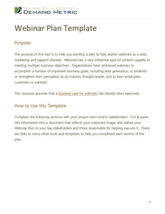 Webinar Plan Template