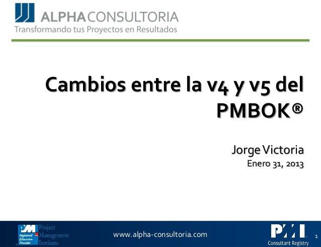 Webinar www.alpha-consultoria.com Cambios entre la v4 y v5 del PMBOK® JorgeVictoria Enero 31, 2013 1
