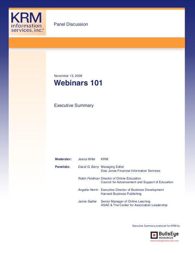 Webinars 101