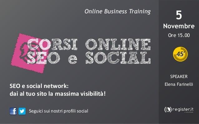 Corso online Seo e Social