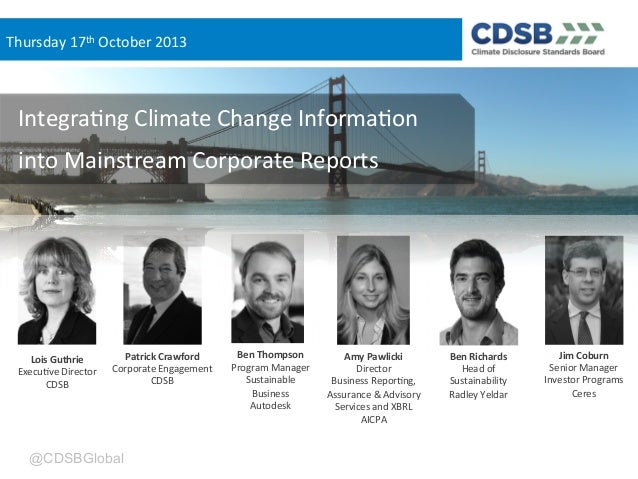 Integrating climate change information into mainstream corporate reports, Americas focus