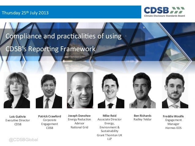 Compliance and practicalities of using CDSB's Framework