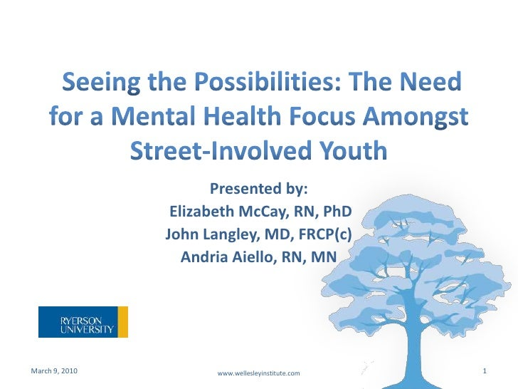 Seeing the Possibilities: The Need for a Mental Health Focus Amongst Street-Involved Youth<br />Presented by:<br /> Eliza...