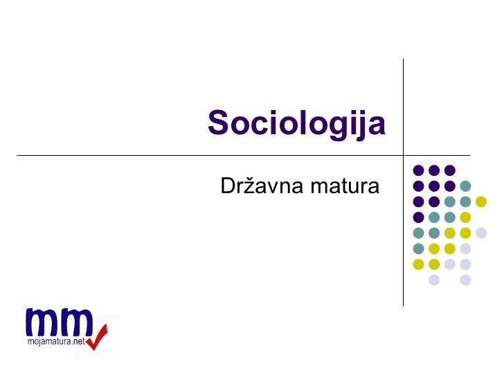 Sociologija Državna matura