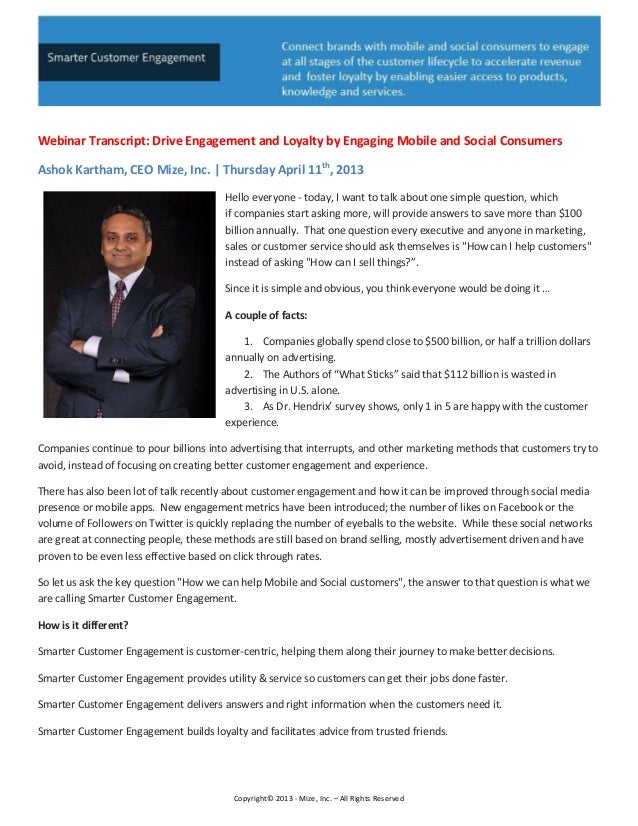 Webinar Transcript: Mize, Inc., CEO Ashok Kartham - Smarter Customer Engagement & Systems of Engagement