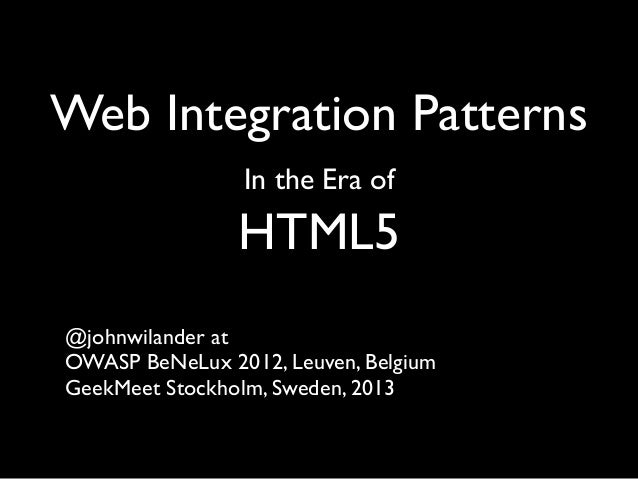 Web Integration Patterns in the Era of HTML5