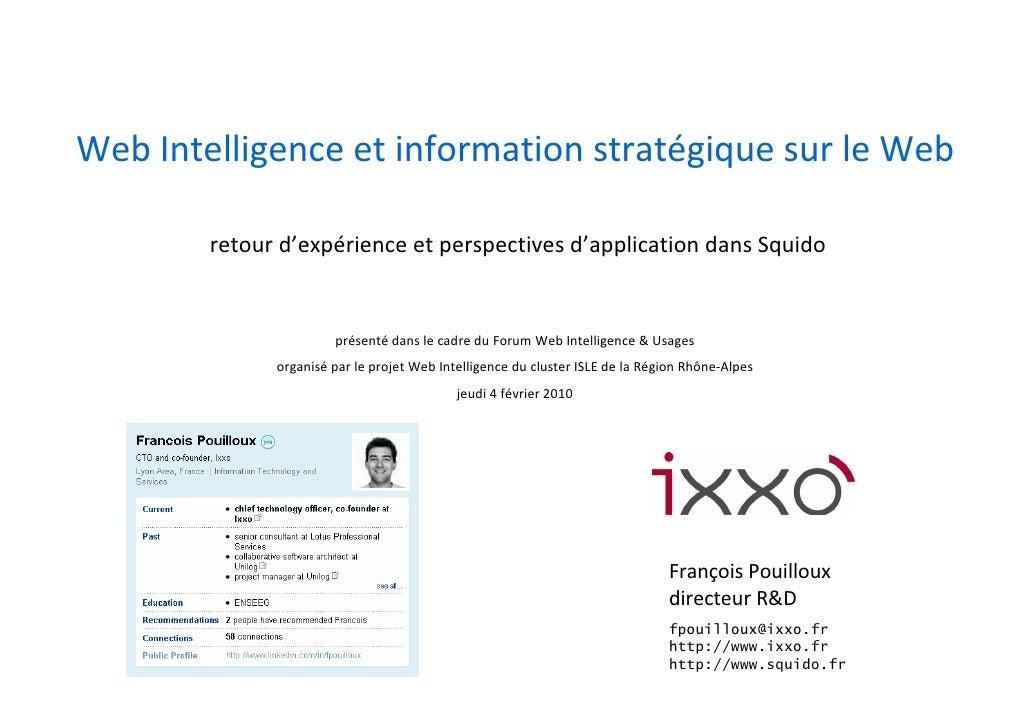 Web Intelligence et Information Stratégique sur le Web