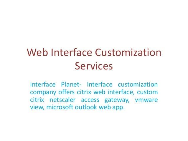 Web interface customization services