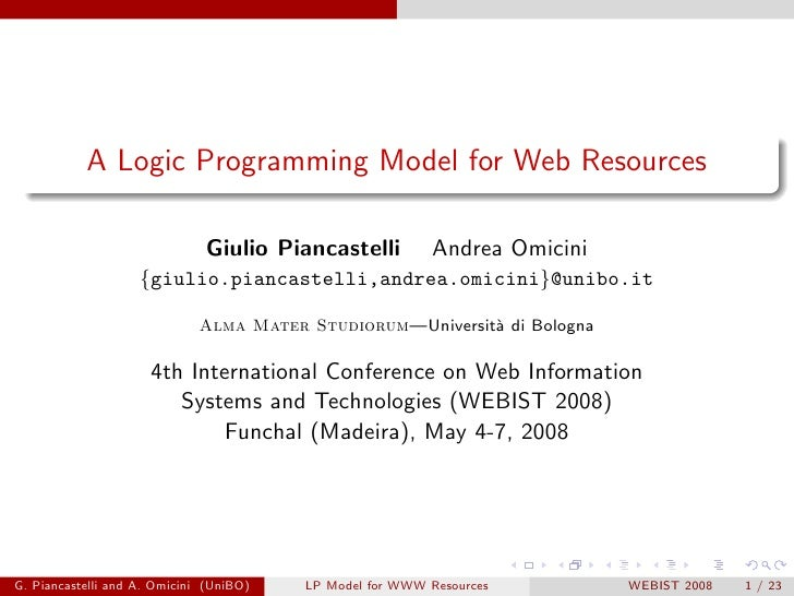 A Logic Programming Model for Web Resources