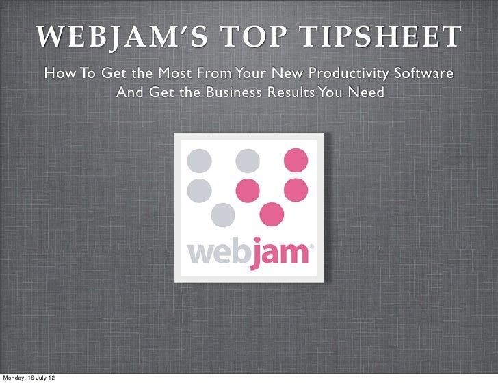 Webjam Top Tipsheet