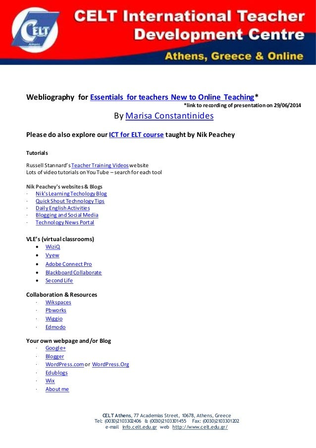 Webliography for essentials for teachers new to online teaching
