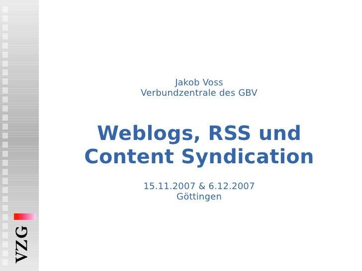 Weblogs, RSS und Content Syndication