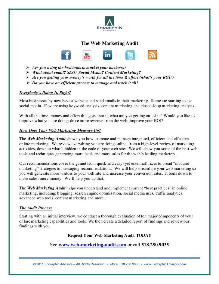 The Web Marketing Audit    Are you using the best tools to market your business?    What about email? SEO? Social Media?...