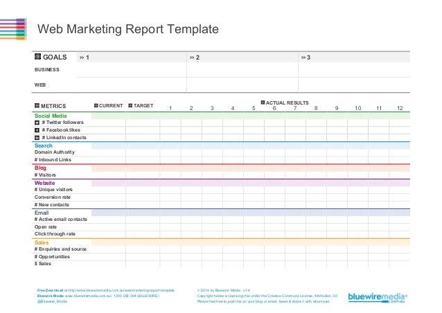 Web Marketing Report Template
