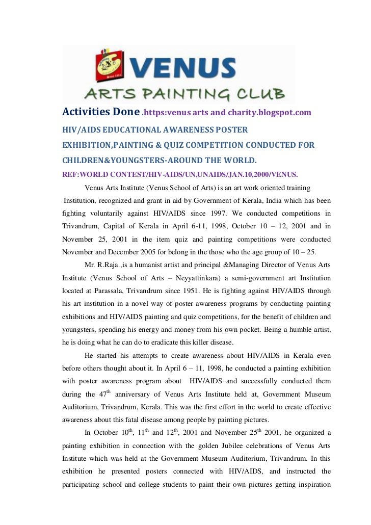 Activities Done .https:venus arts and charity.blogspot.comHIV/AIDS EDUCATIONAL AWARENESS POSTEREXHIBITION,PAINTING & QUIZ ...
