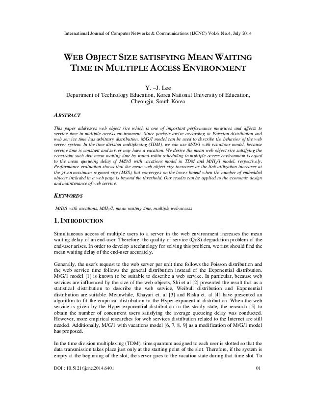 Web object size satisfying mean waiting
