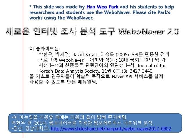 이 슬라이드는 박한우, 박세정, David Stuart, 이승욱 (2009). API를 활용한 검색 프로그램 WeboNaver의 이해와 적용 : 18대 국회의원의 웹 가 시성 분석과 신종플루 관련단어의 연관성 분석. J...